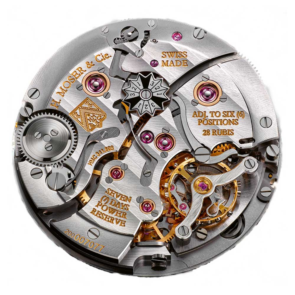 The H. Moser & Cie. perpetual calendar movement with a seven-day power reserve