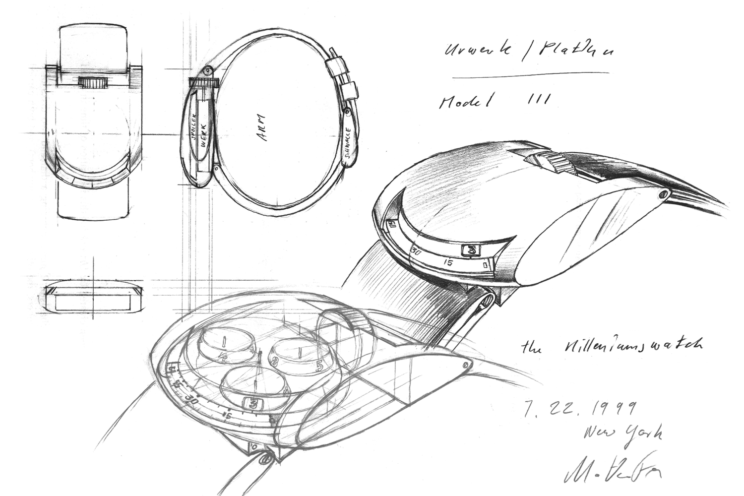 Some of Frei's earliest hand-drawn sketches for what would become the UR-103.
