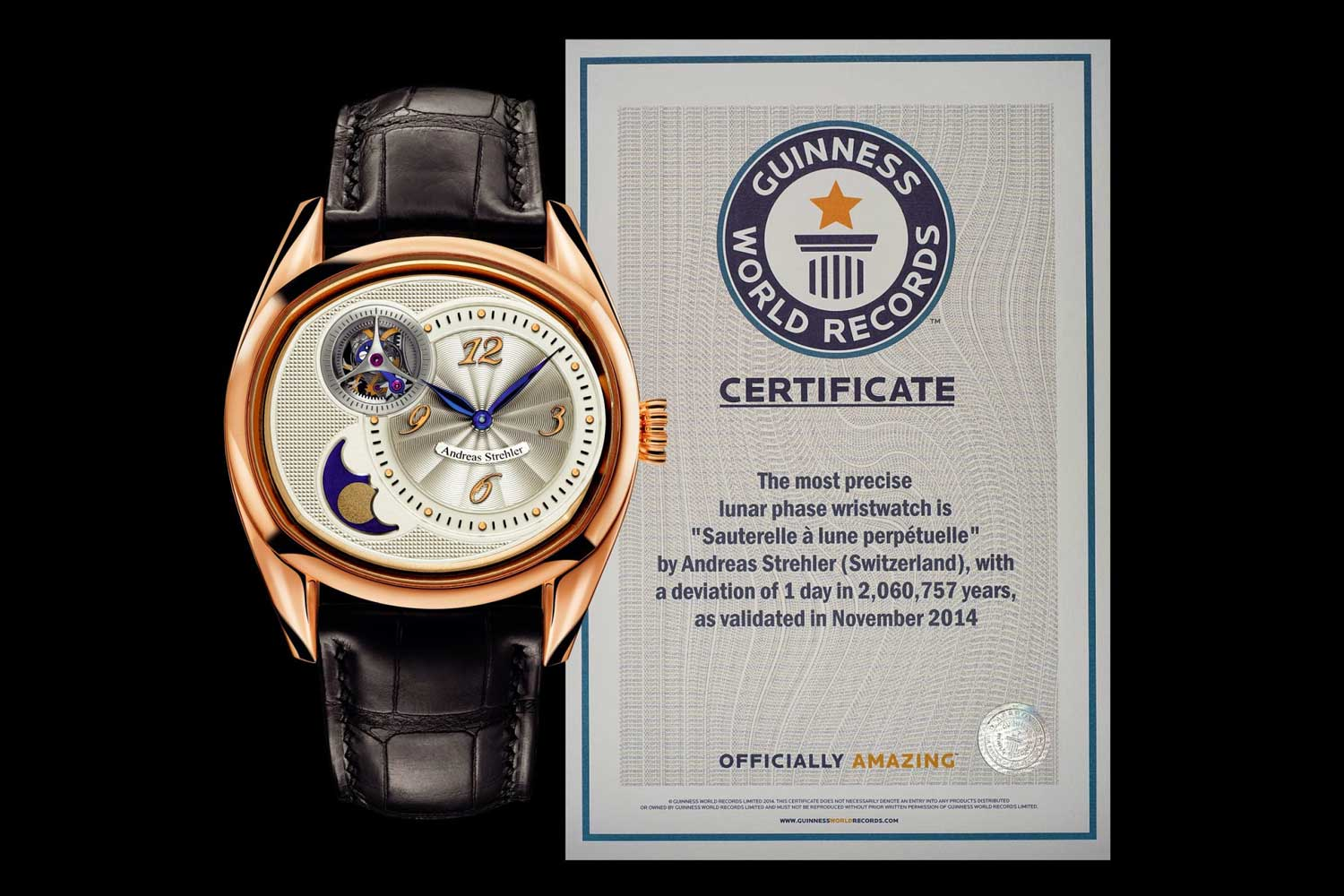 Strehler's most iconic timepiece is the Sauterelle à Lune Perpétuelle 2M presented in 2014 that earned a place in the Guinness World Records as the most precise moon phase indication in the world, requiring a correction every 2.045 million years