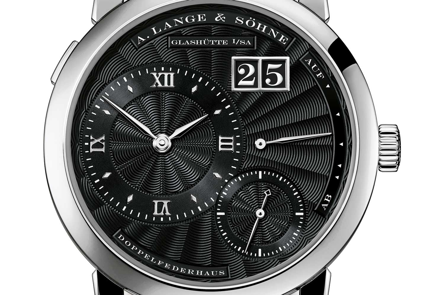 The Little Lange 1 reference no. 101.062 in platinum. which features a black guilloché à main dial