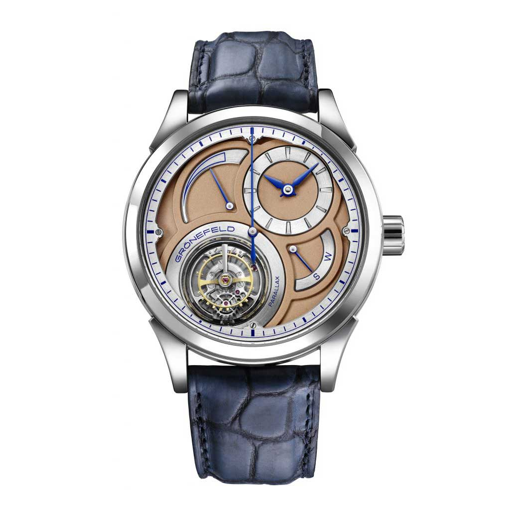The Parallax Tourbillon with central seconds features a stop seconds function that guarantees down-to-the-second accuracy when setting the watch.