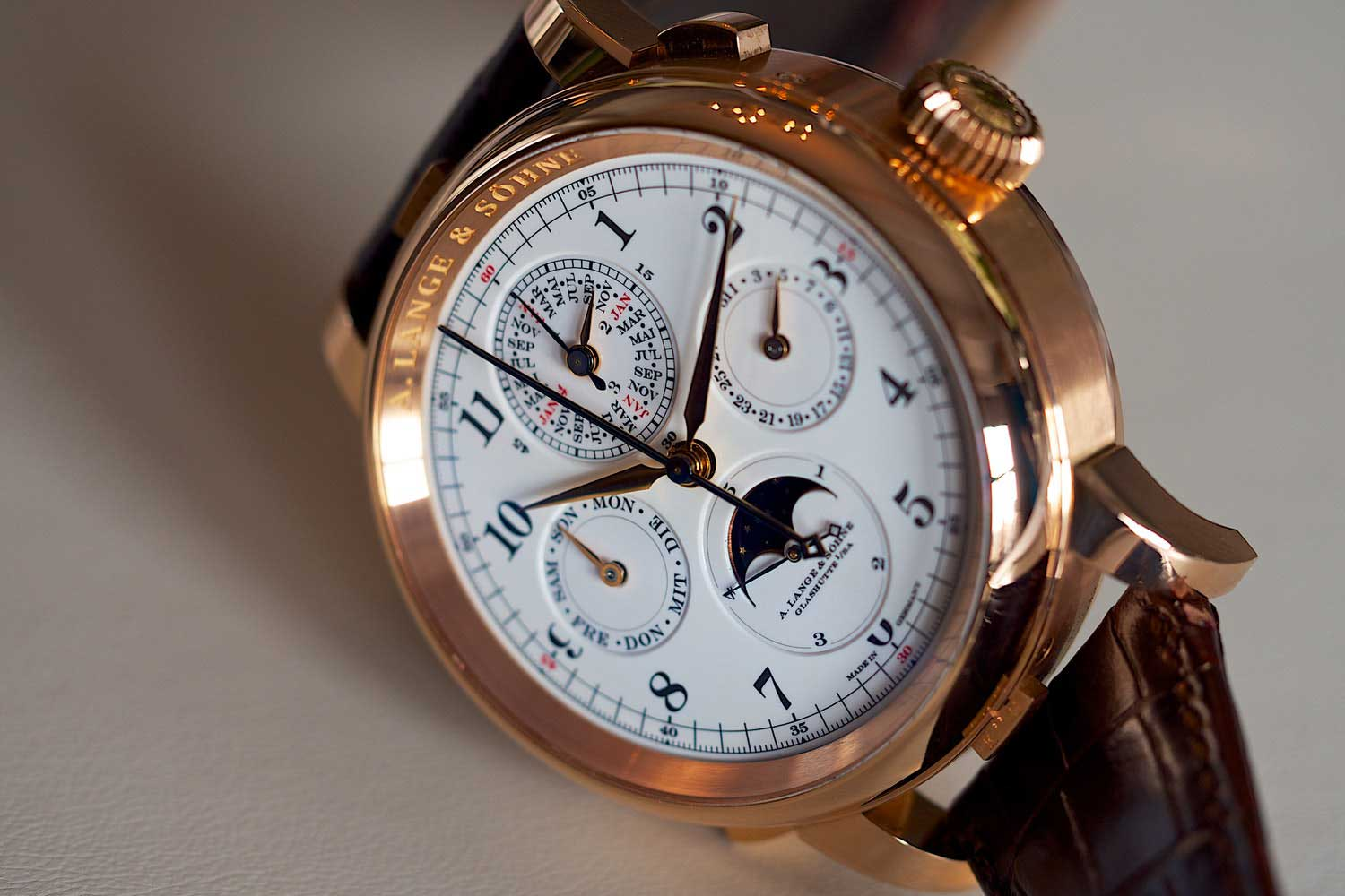 A. Lange & Söhne's Grand Complication incorporates a perpetual calendar with moon phase, a split seconds chronograph with lightning seconds, and a grande and petite sonnerie and minute repeater.