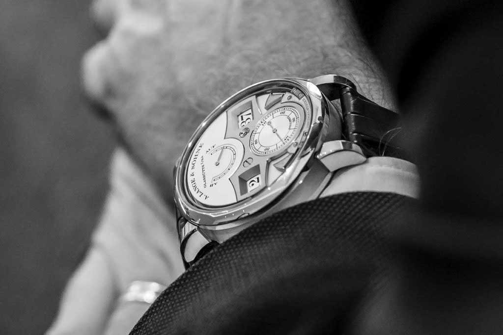 The A.Lange & Söhne Zeitwerk Decimal Strike on Anthony de Haas' wrist