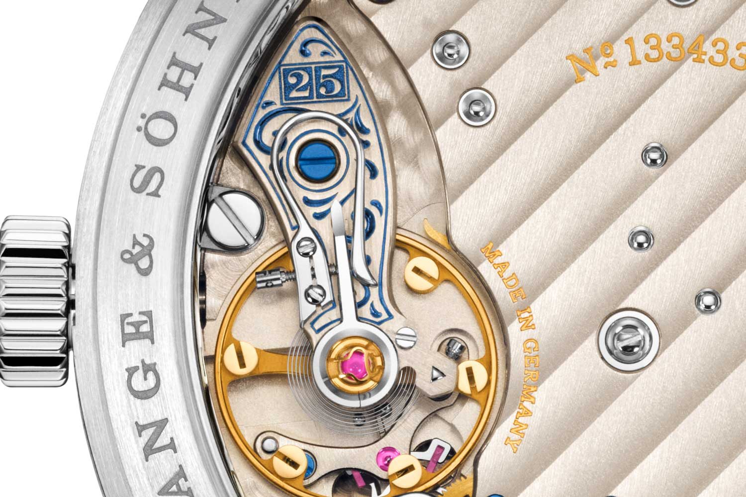 """All of the 25th anniversary Lange 1 watches had a very special engraving the balance cock or another bridge on the movement: the outsize date with a """"25"""" that symbolises the 25th anniversary"""