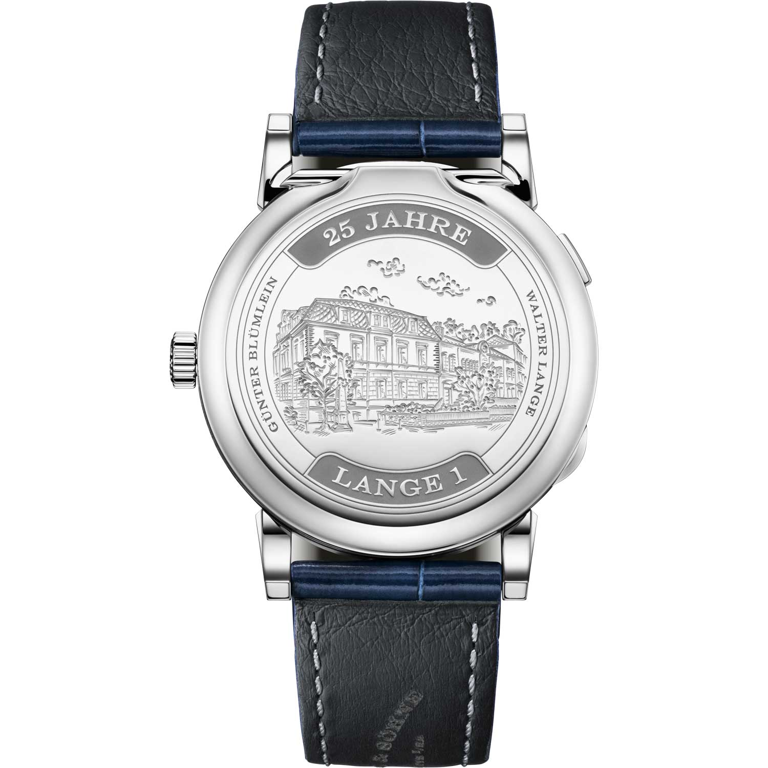 """The LANGE 1 """"25th Anniversary"""" had an engraved white-gold hinged cuvette which depicts the A. Lange & Söhne family domain that was inaugurated in 1873"""