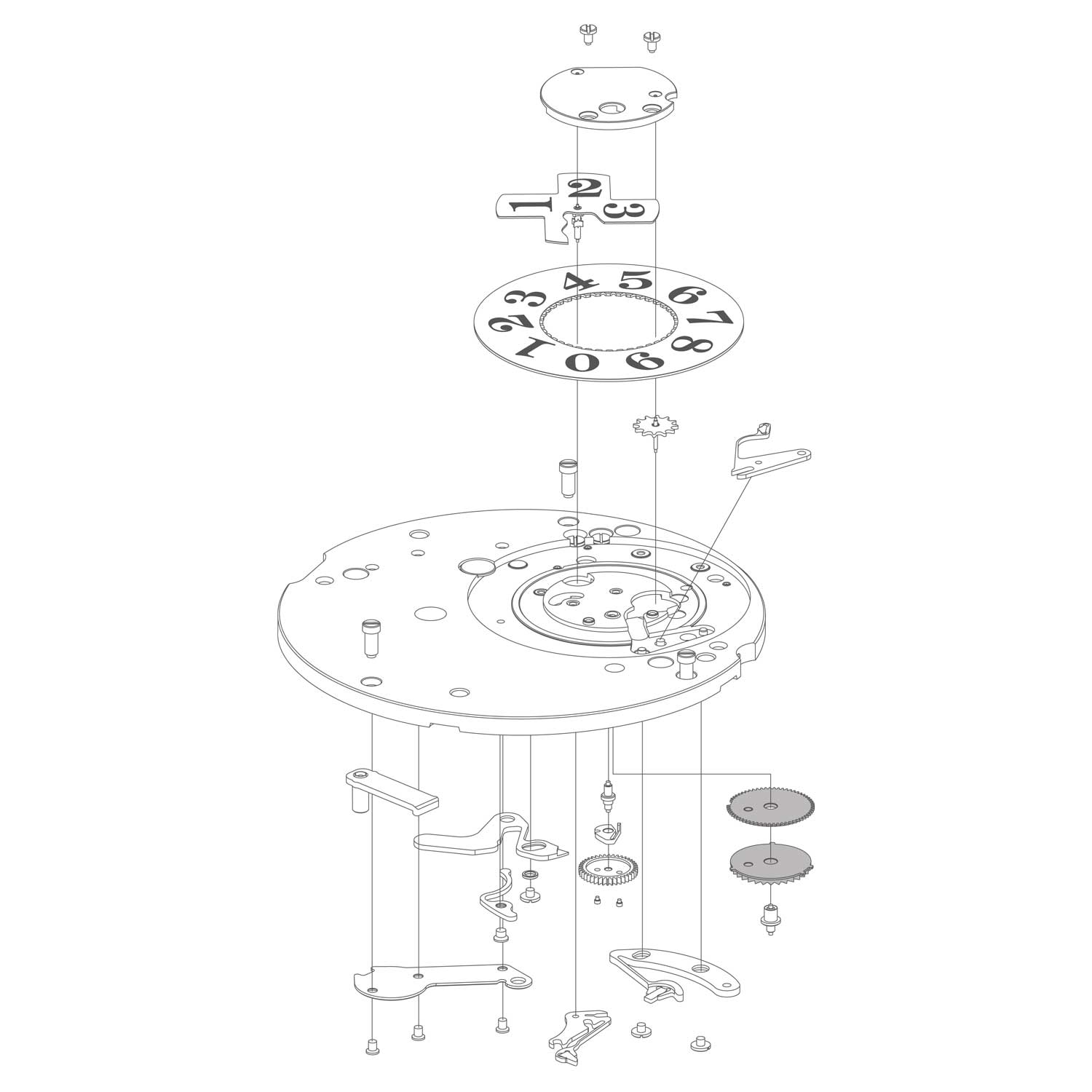 An exploded diagram of the oversized date mechanism