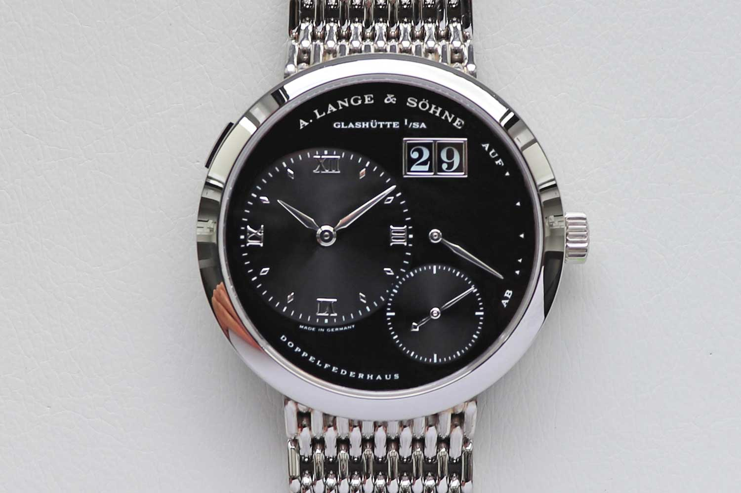 """The Lange 1 """"Darth"""" seen here paired with the Wellendorff or """"beads of rice"""" style bracelet that was offered as a special-order request (Image: langepedia.com)"""
