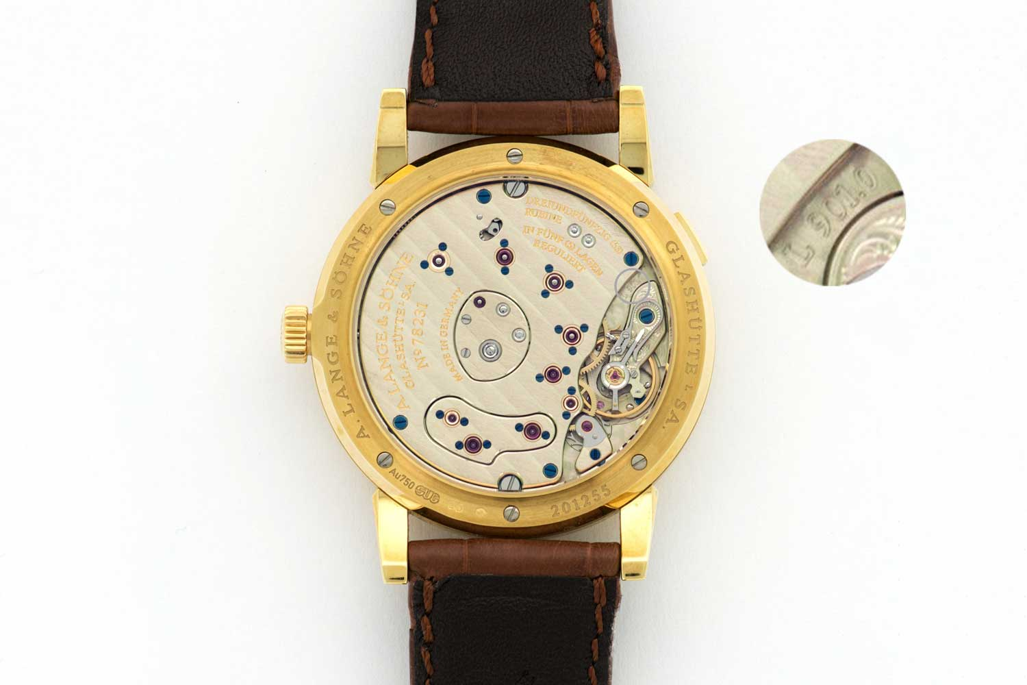 The movement within the ref. 101.021 Lange 1 was the L901.0 (Image: thekeystone.com)