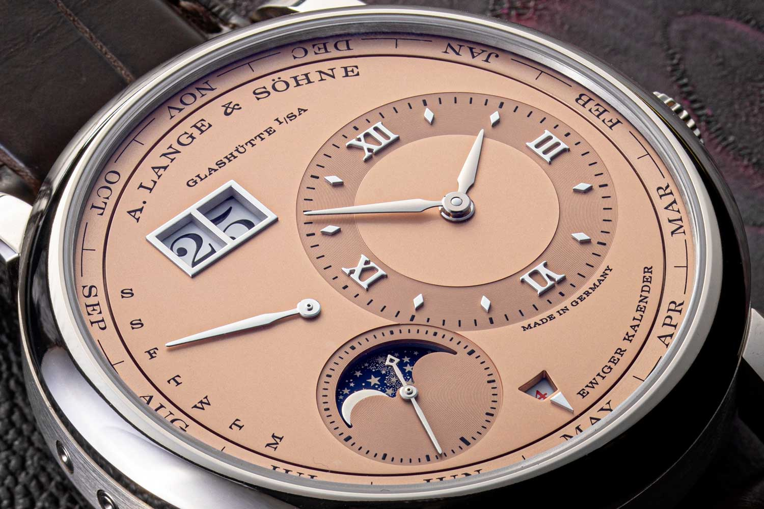 A closer look at the solid pink gold dial on the 2021, Lange 1 Perpetual Calendar in white gold (©Revolution)