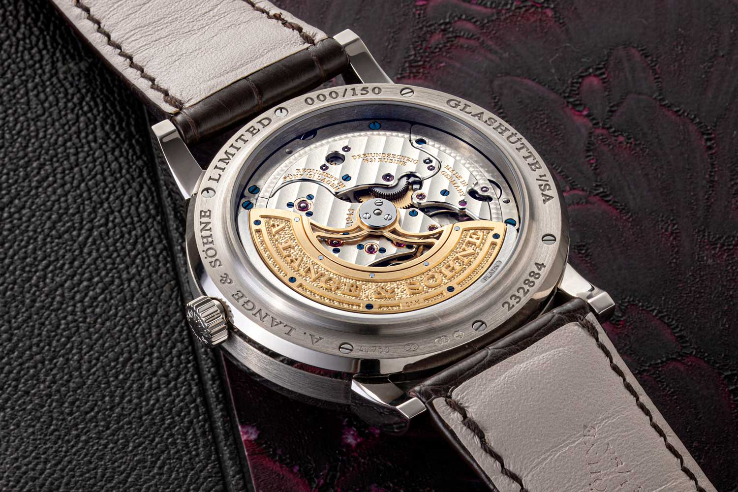 View from caseback of the Lange manufacture calibre L021.3 that powers the Lange 1 Perpetual Calendar (©Revolution)