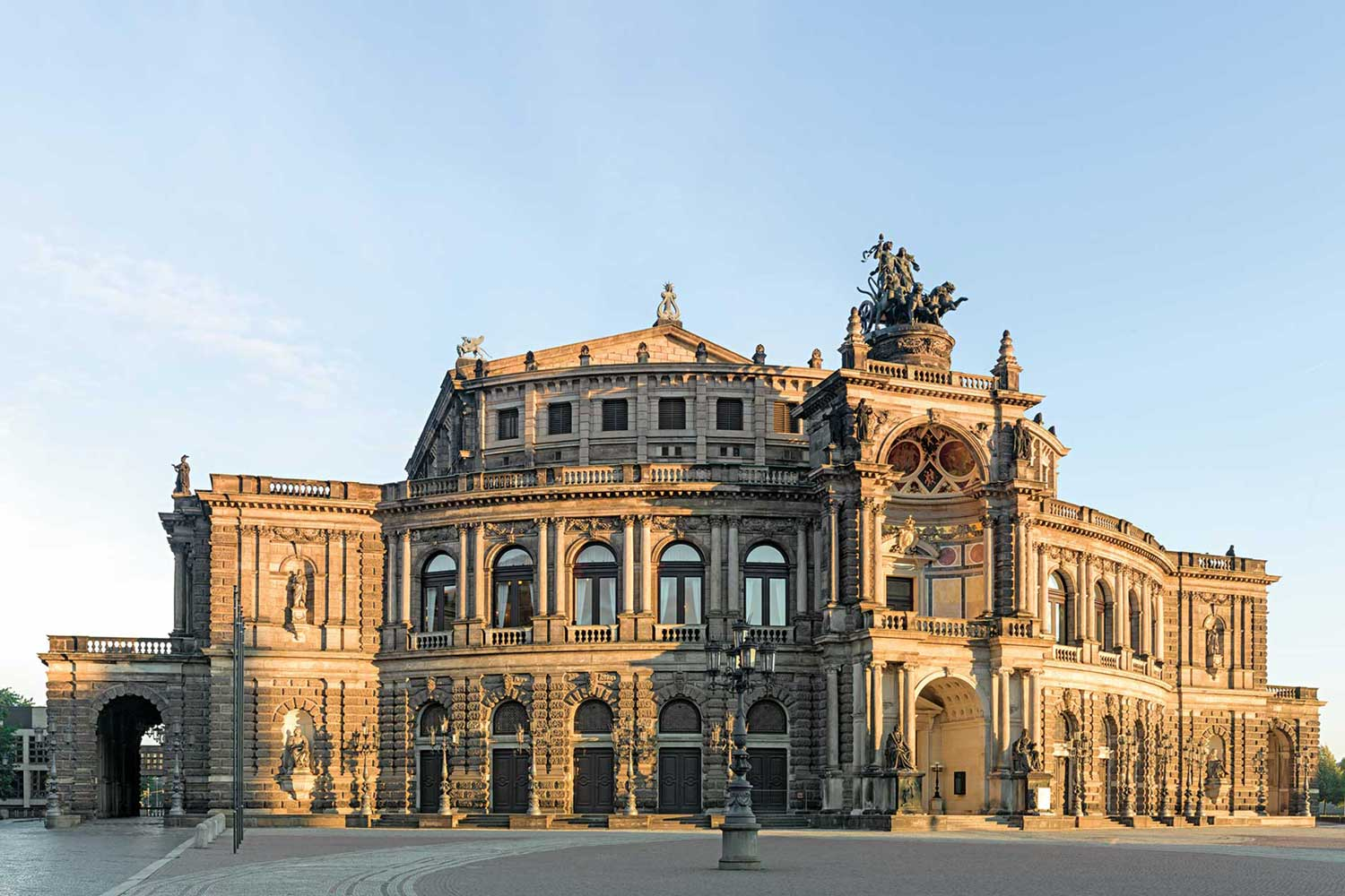 Dresden's Semper Opera House, where the famous five-minute clock sits above the stage that inspired the outsize date display's design on the Lange 1