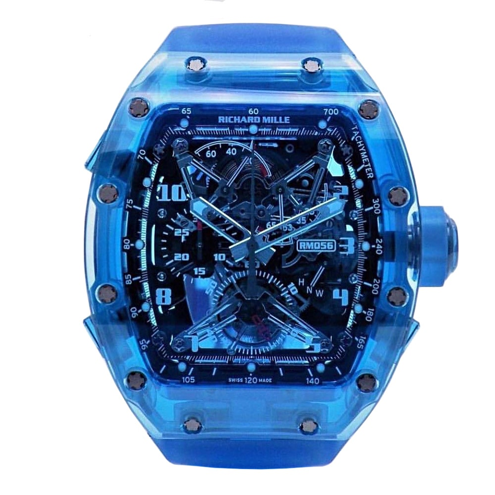 """The piéce unique blue sapphire RM 056 on this wrist, also known as the """"Blueprint"""""""