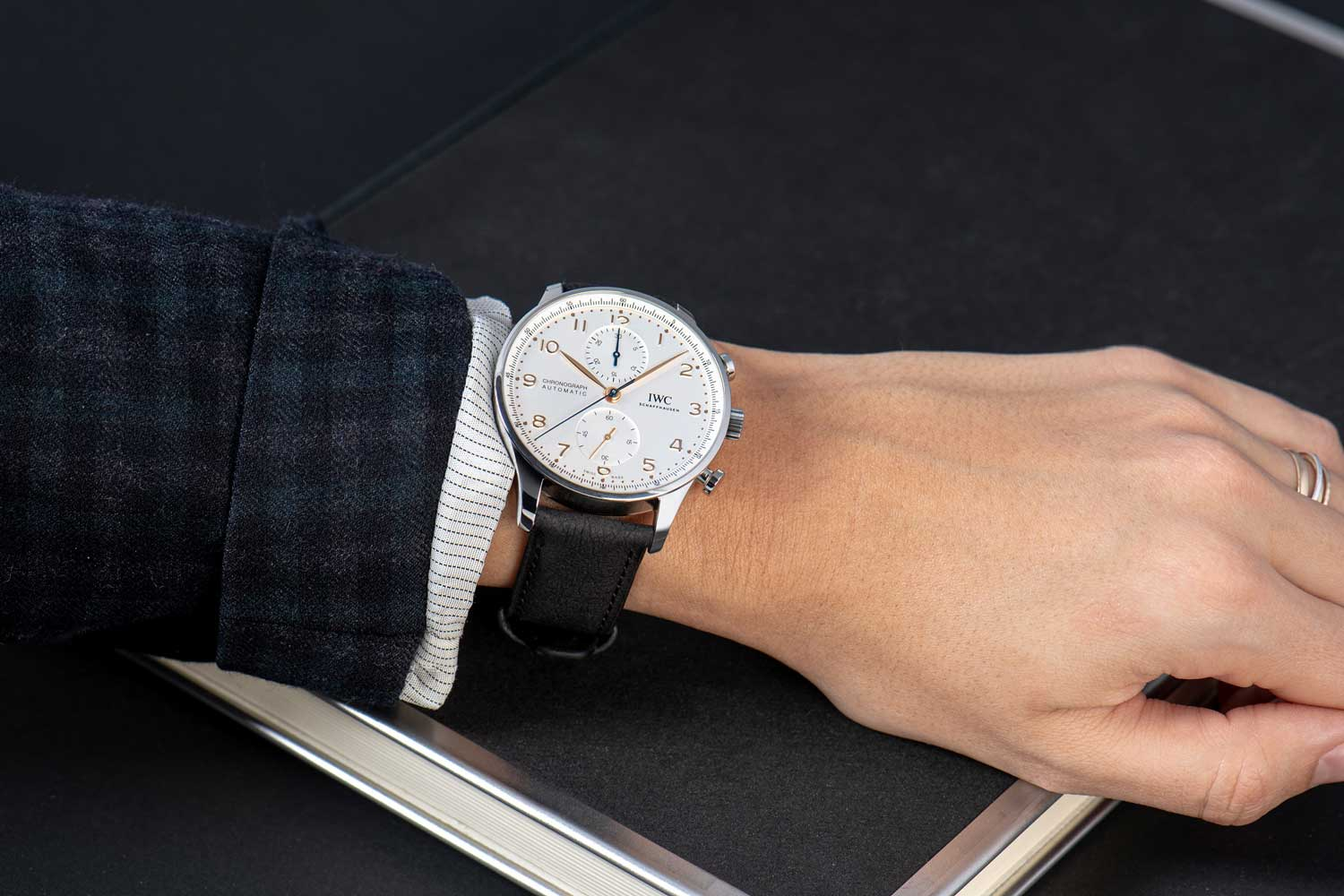 IWC's TimberTex straps are composed of 80 percent plant fibers and the cellulose utilized comes from Forest Stewardship Council (FSC) certified trees from sustainable, responsibly managed forests in Europe.