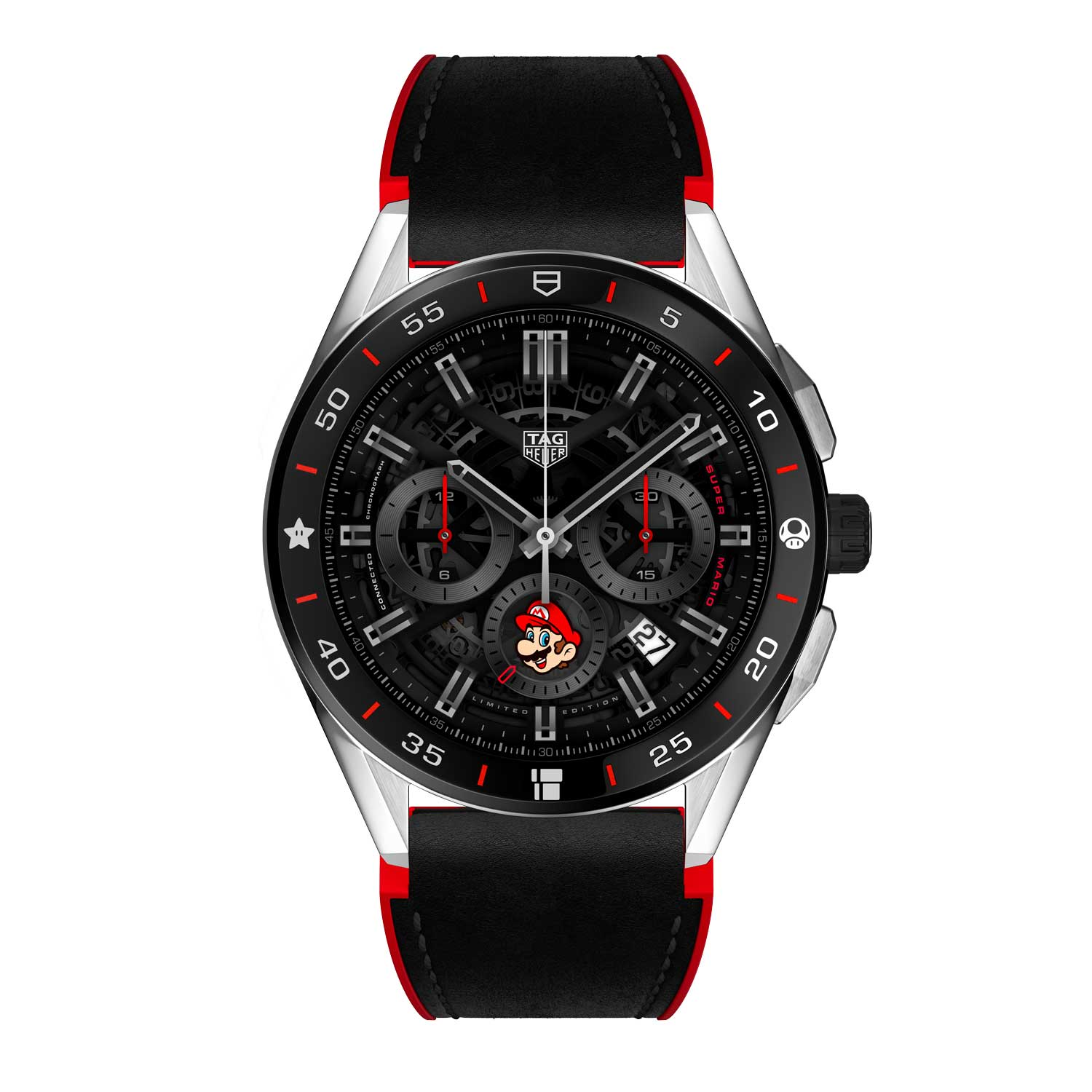 Two versions of the Heuer 02 watch face were created exclusively for this edition - a fun rendition using Super Mario's iconic red and blue colours, and a more classic one with subtle touches of Super Mario's red cap.