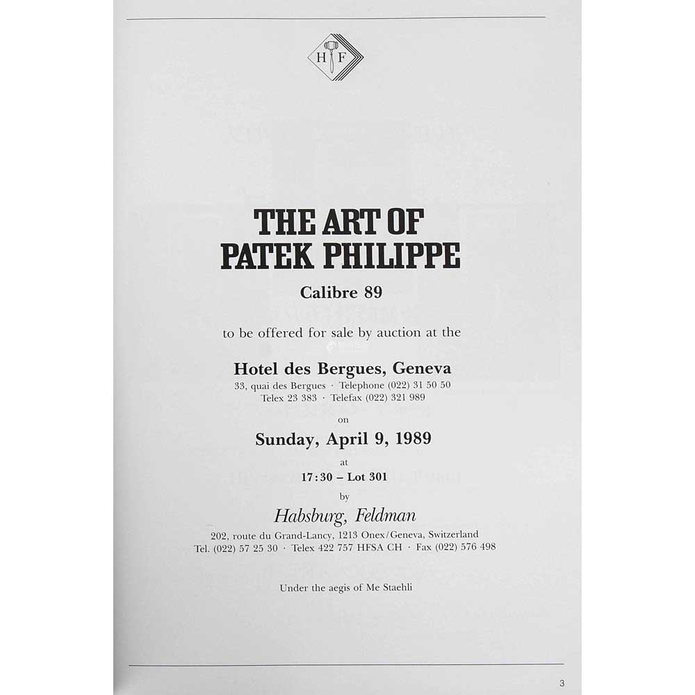 The Art of Patek Philippe, a mono-thematic auction organised by Patrizzi in 1989 with a specially curated selection of 301 watches that fetched USD 15 million.