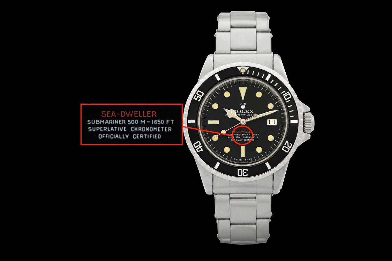 """A rare """"single red"""" version of the Sea-Dweller, rated for 500m"""
