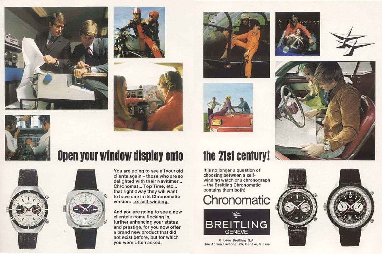An old advertisement for Breitling's Chronomatics