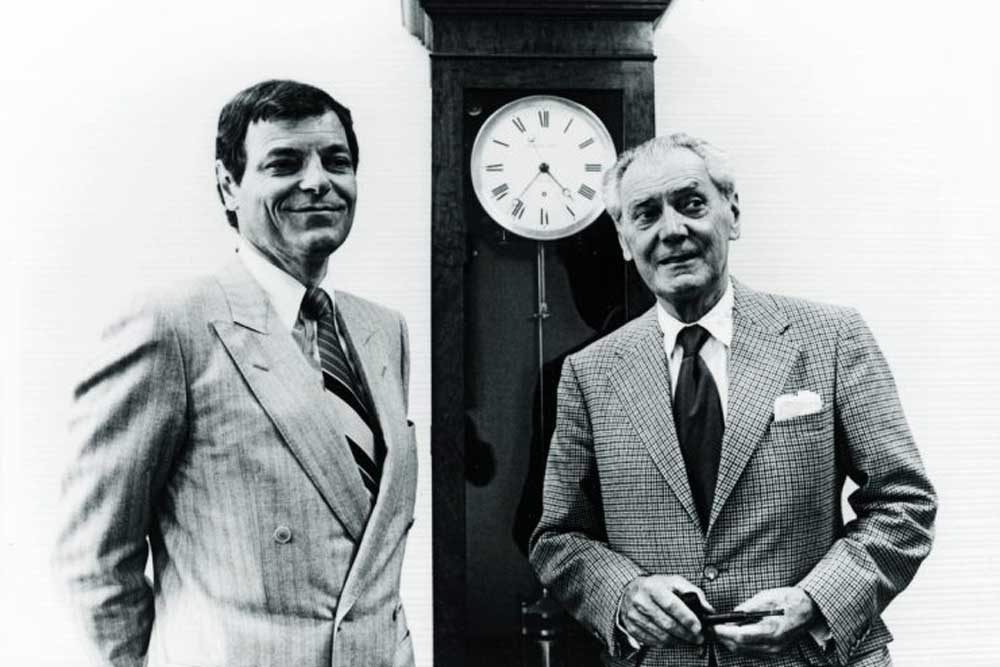 Philippe Stern (left) with his father Henri Stern, who had a fancy for perpetual calendars with linear displays.