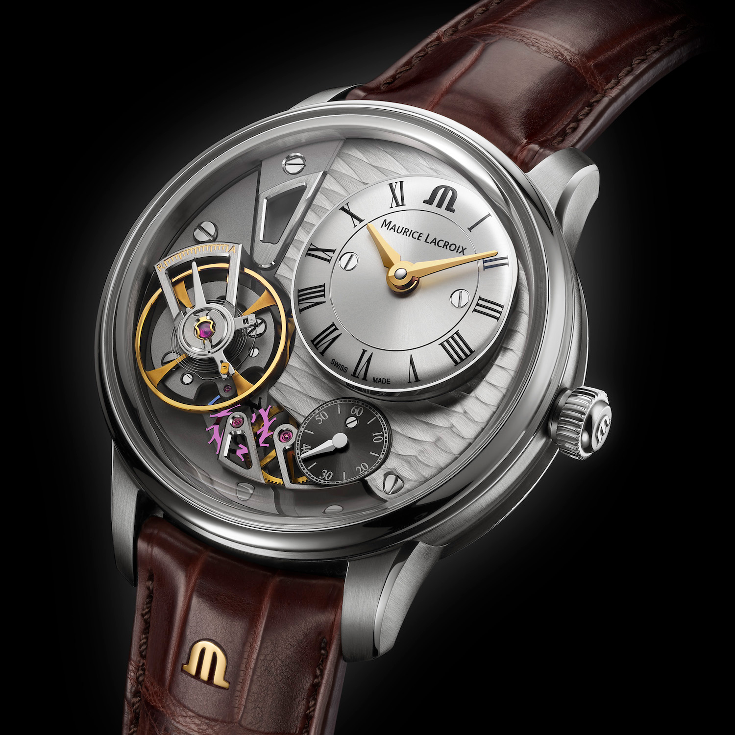 The Maurice Lacroix's Masterpiece Gravity is powered by caliber ML 230 with a power reserve of 50 hours.