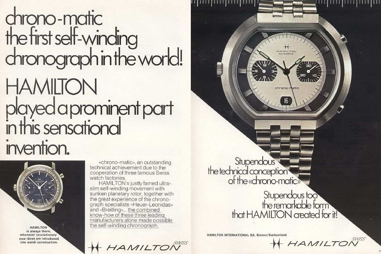 Hamilton's advertisement for the early Chronomatics in 1969