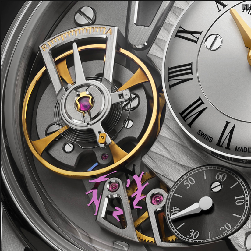 The entire assortment, including balance staff, pallet lever, pallet staff, escapement wheel and escapement wheel pinion in this watch are made of silicon