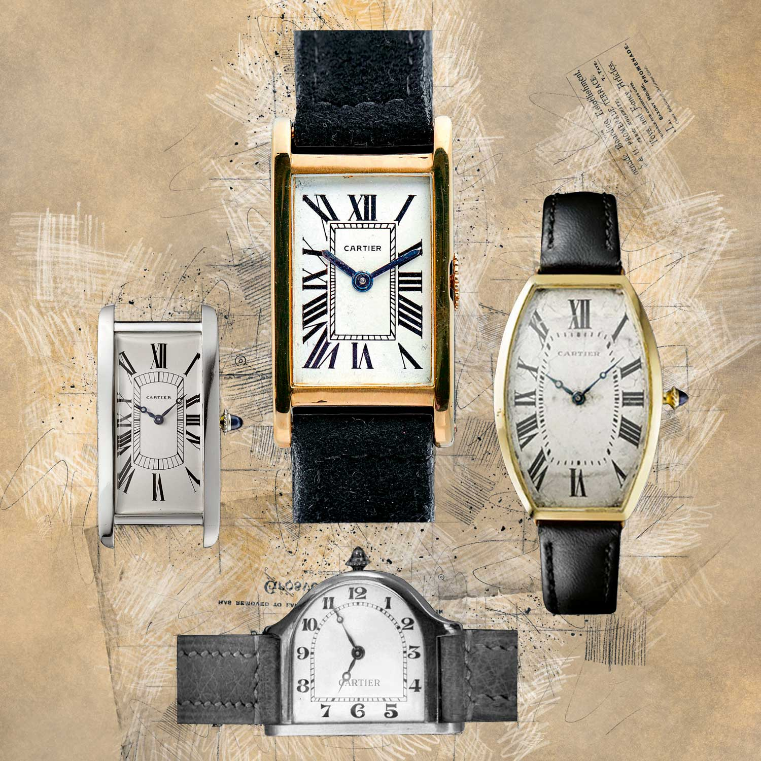 Louis Cartier's unusual and elaborate case designs — right from Tonneau to Tortue — sealed the status of the wristwatch as one of the most defining accessories in the postwar era. Clockwise from top: An example of the Cartier Tank from the 1930s; Cartier Tonneau from 1908; Cartier Cloche from 1922; Tank Cintrée from 1924