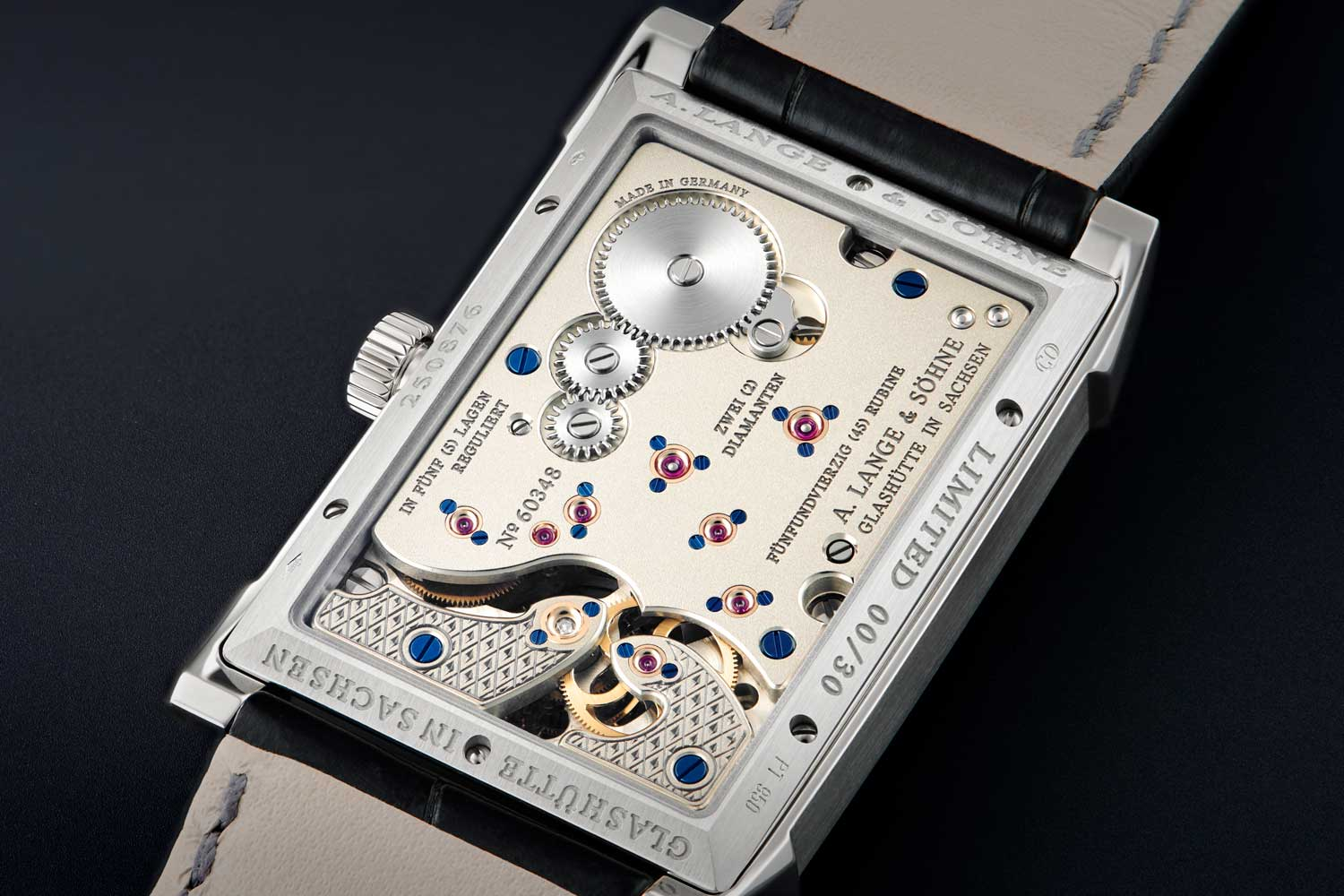The Lange manufacture calibre L042.1, manually wound, decorated and assembled twice by hand; three-quarter plate made of untreated German silver; tourbillon and intermediate wheel cocks engraved by hand (©Revolution)