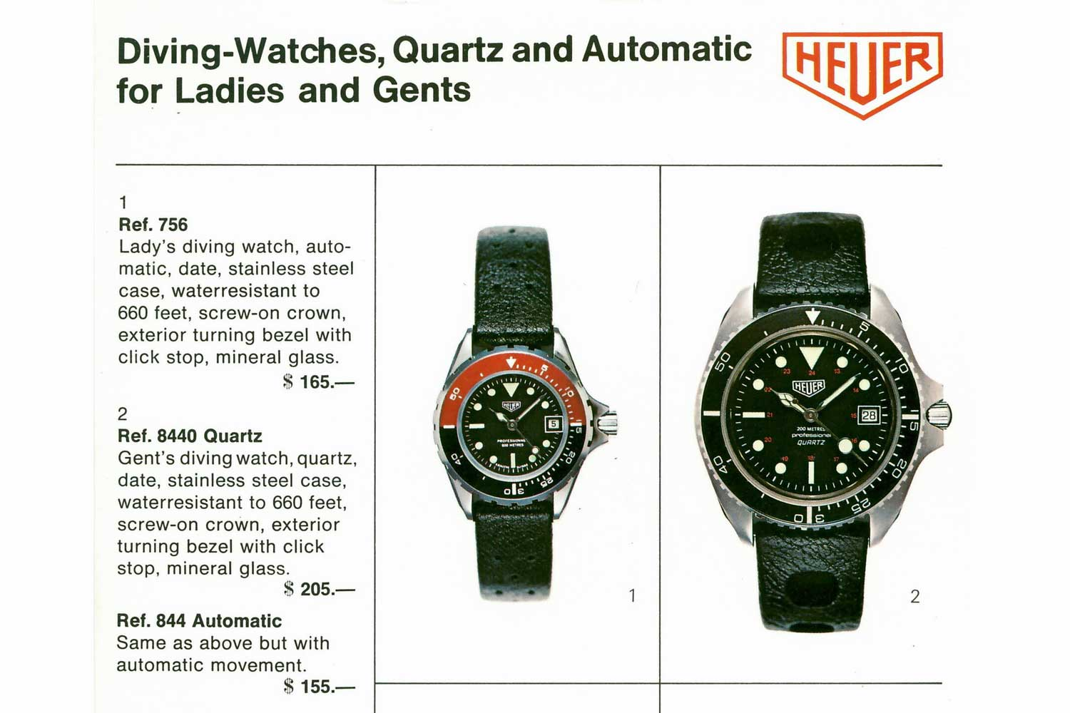 TAG Heuer's 1979 catalogue for dive watches (Image : Onthedash)