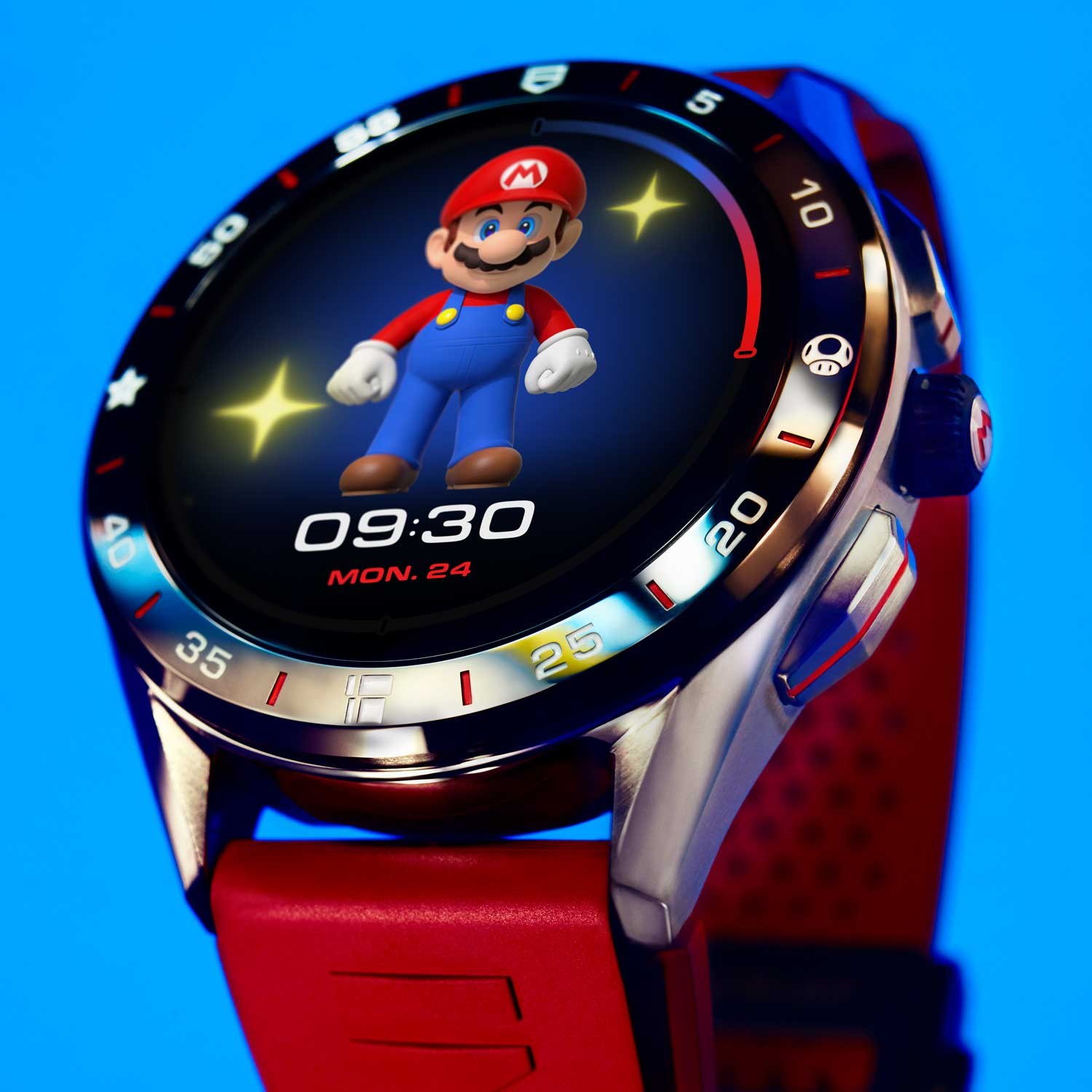 The watch's bezel displays Super Mario's famous objects - at 3 o'clock is the Super Mushroom that makes Mario grow, at 6 o'clock is the Pipe that allows him to travel fast and at 9 o'clock is the Super Star that makes him invincible.