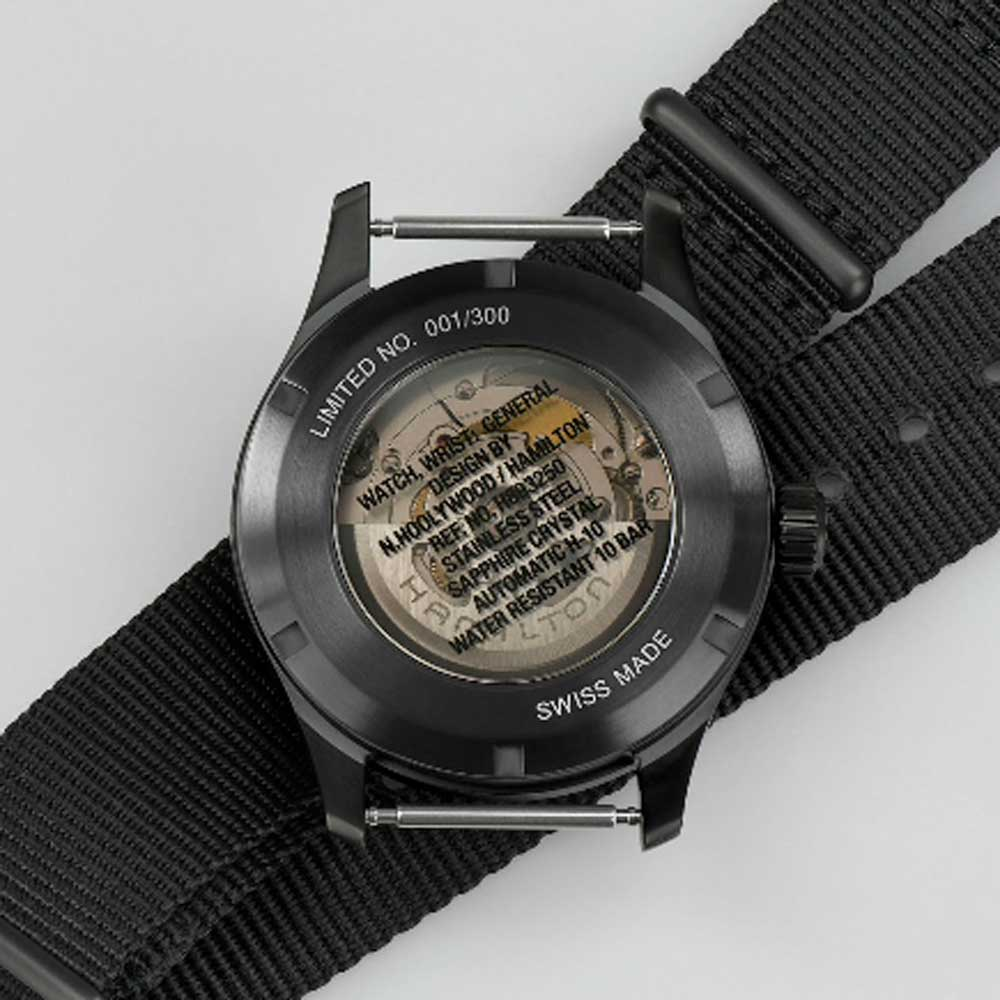 """The watch's caseback is inscribed the words: """"Watch, wrist: General Design by N. HOOLYWOOD/Hamilton."""