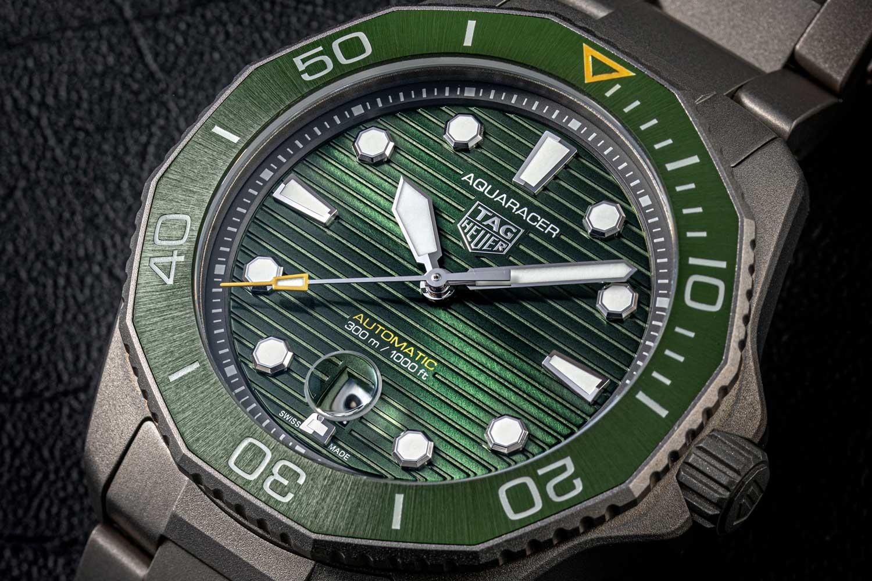 The 43-mm Aquaracer 300 in high-tech matte Grade 2 titanium with a green dial. (©Revolution)
