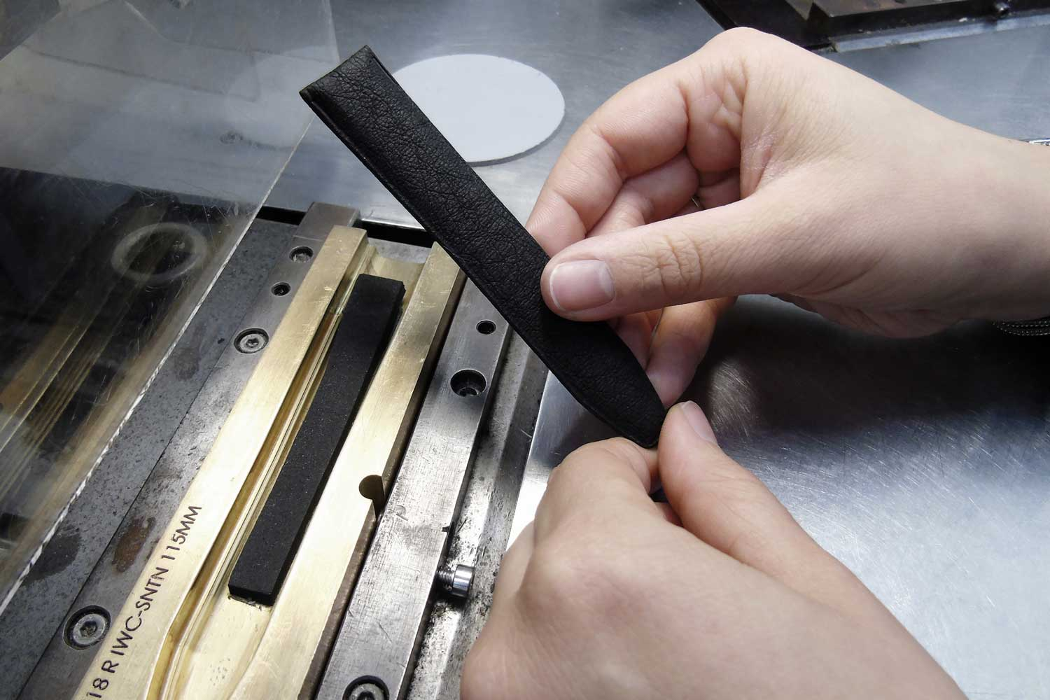 The strap-making process has over 60 stages and results in a material that resembles grained leather and is water resistant, durable and beautiful.