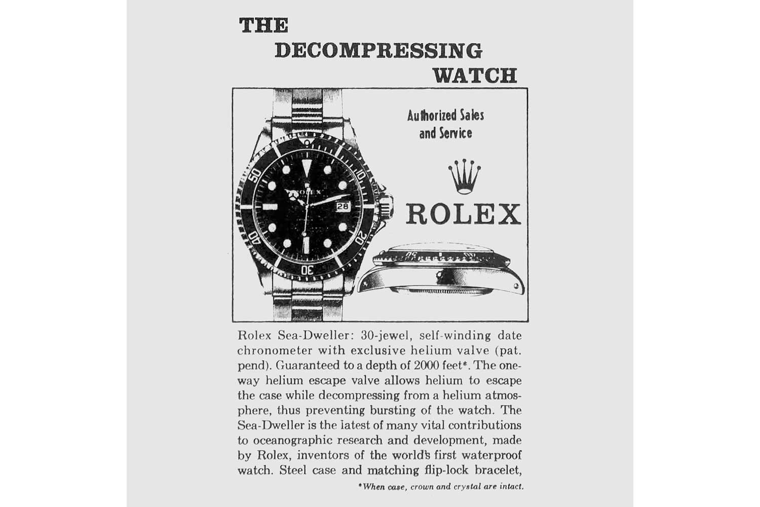 One of the first advertisements for the Rolex Sea-Dweller from the 1970s