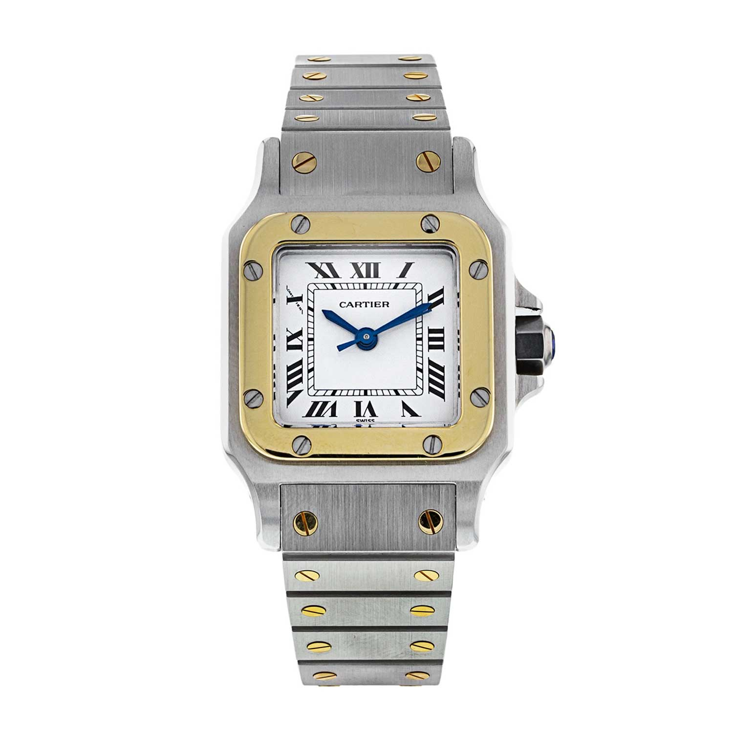 The present example of the Cartier Santos Galbée in our shop is from 1996 and it comes with a two-year warranty from Watchfinder.