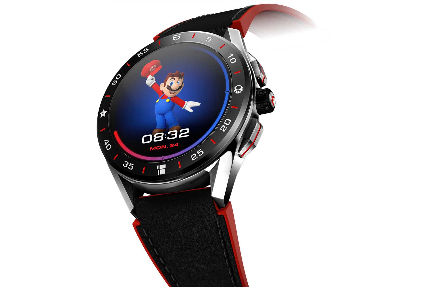 Mario greets the wearer with a welcoming salute in the morning and as one racks up with the step count and gets closer to the target, a different animation plays out on the dial.