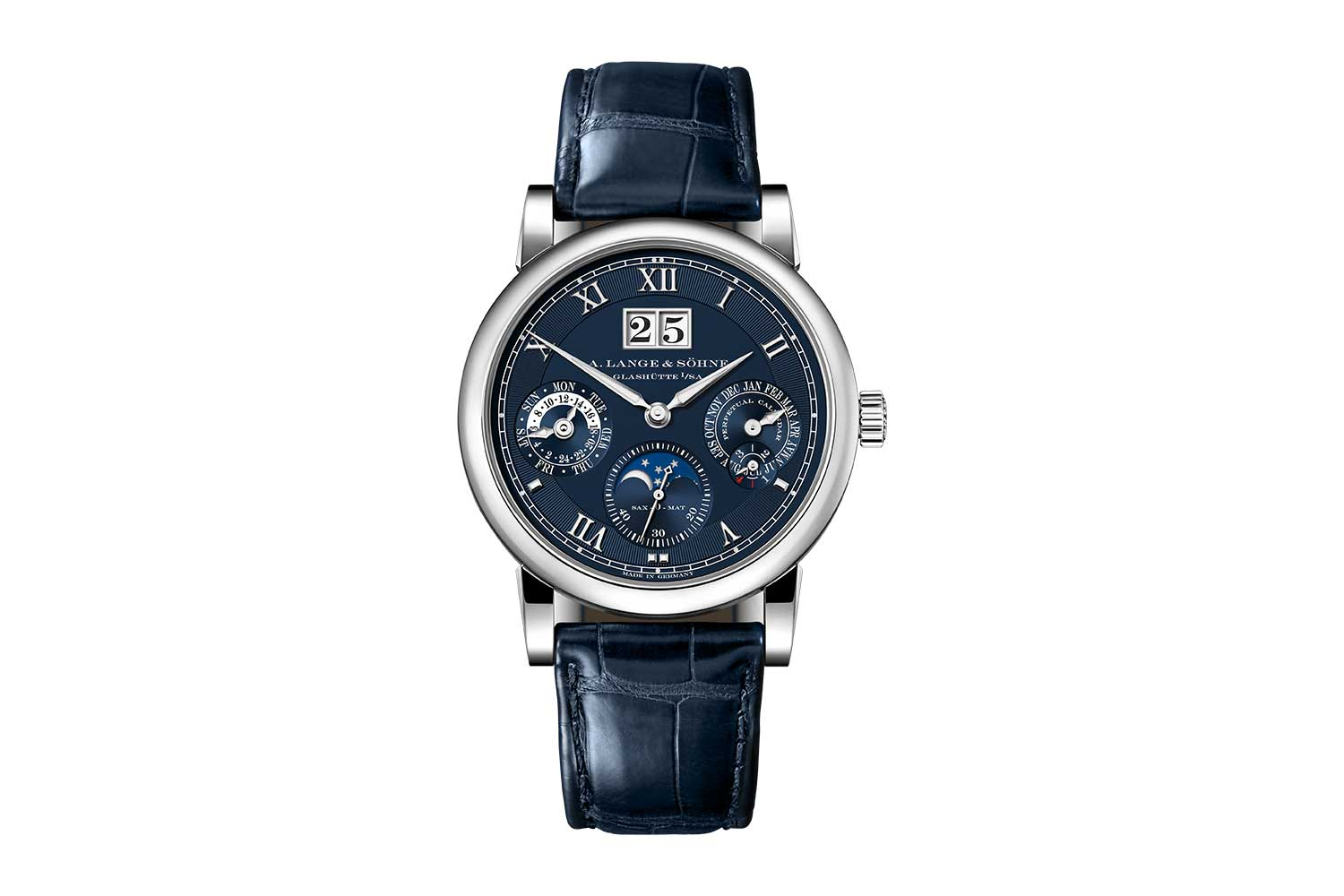 The 2021 Langematik Perpetual in white gold with blue dial – ref. 310.028, limited to 50 pieces