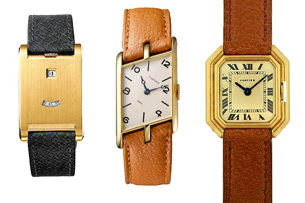 Between 1904 and 1936, Louis Cartier fostered the reputation of shaped watches as groundbreaking style statements with his strong, individualist designs. Seen here (from left) Tank a ̀ Guichet from 1928, Tank Asymétrique from 1936 and Cartier Ceinture from 1927.