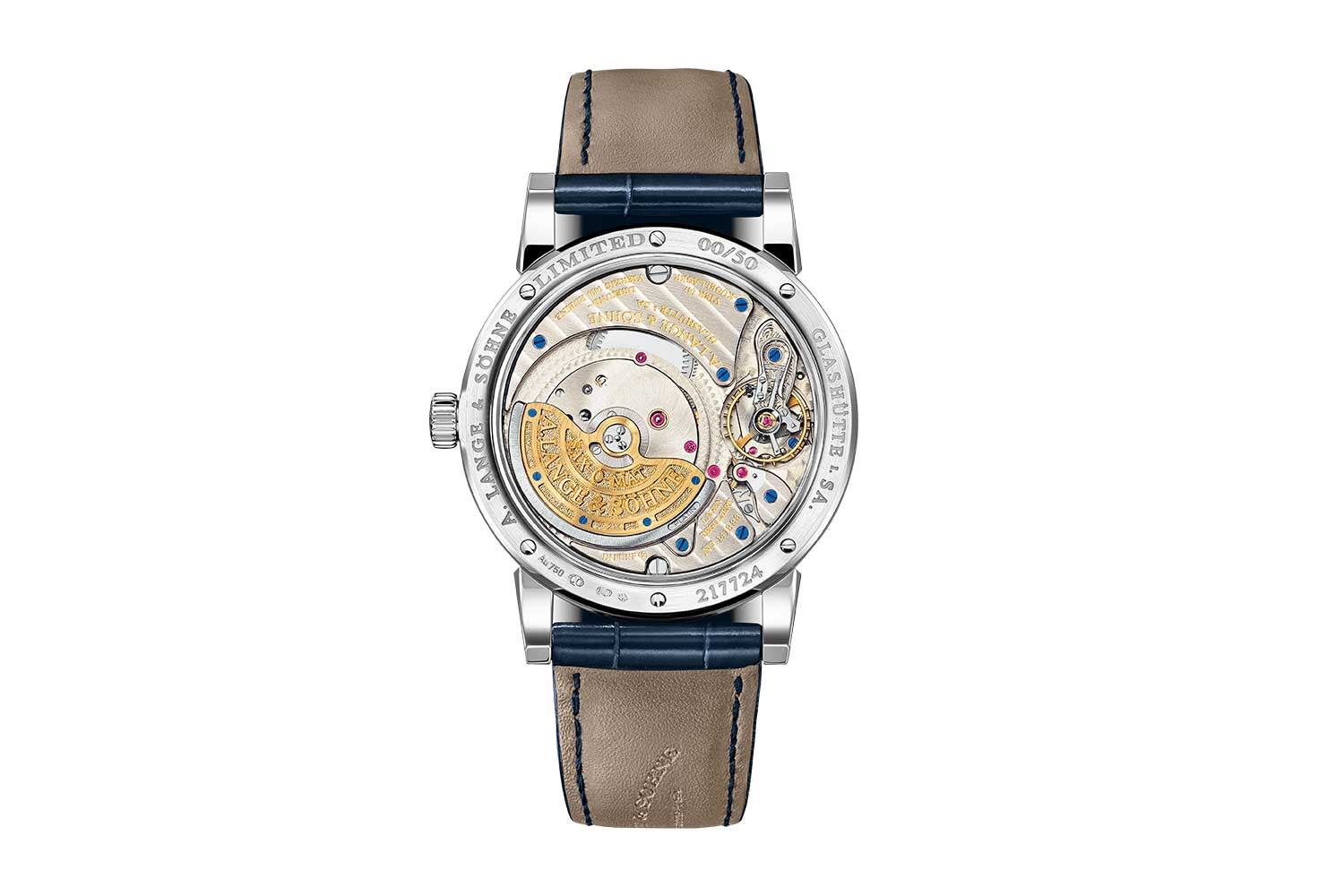 The 2021 Langematik Perpetual in white gold with blue dial – ref. 310.028