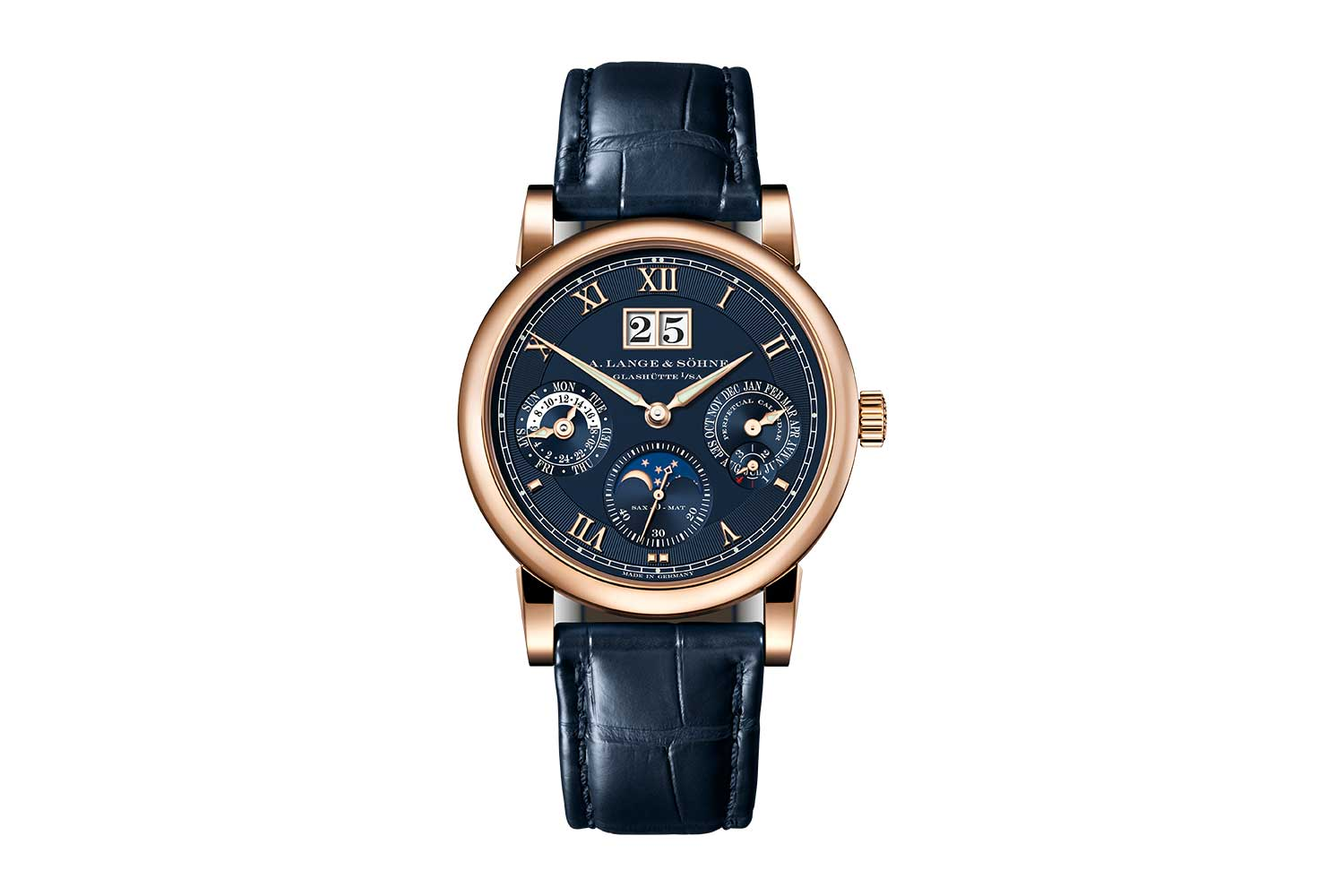 The 2021 Langematik Perpetual in pink gold with blue dial – ref. 310.037, limited to 50 pieces