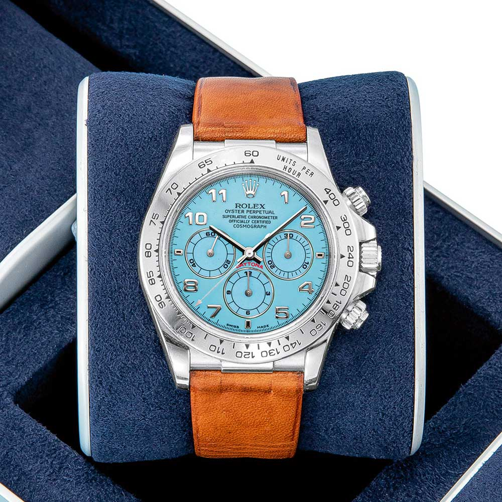 According to Eric Wind, newer buyers are specifically looking for condition and originality in sportier steel watches. Seen here is the Rolex Cosmograph Daytona ref. 16516 with a 'Tiffany blue' lacquered 'Stella' dial