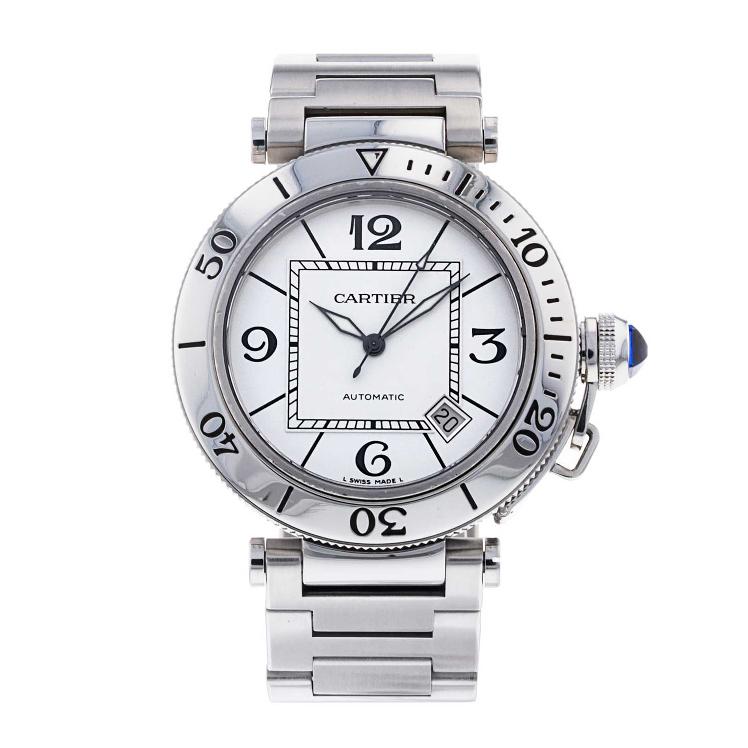 This Pasha Seatimer from 2007 is a self-winding automatic watch that features a 40mm stainless steel case surrounding a silver dial.