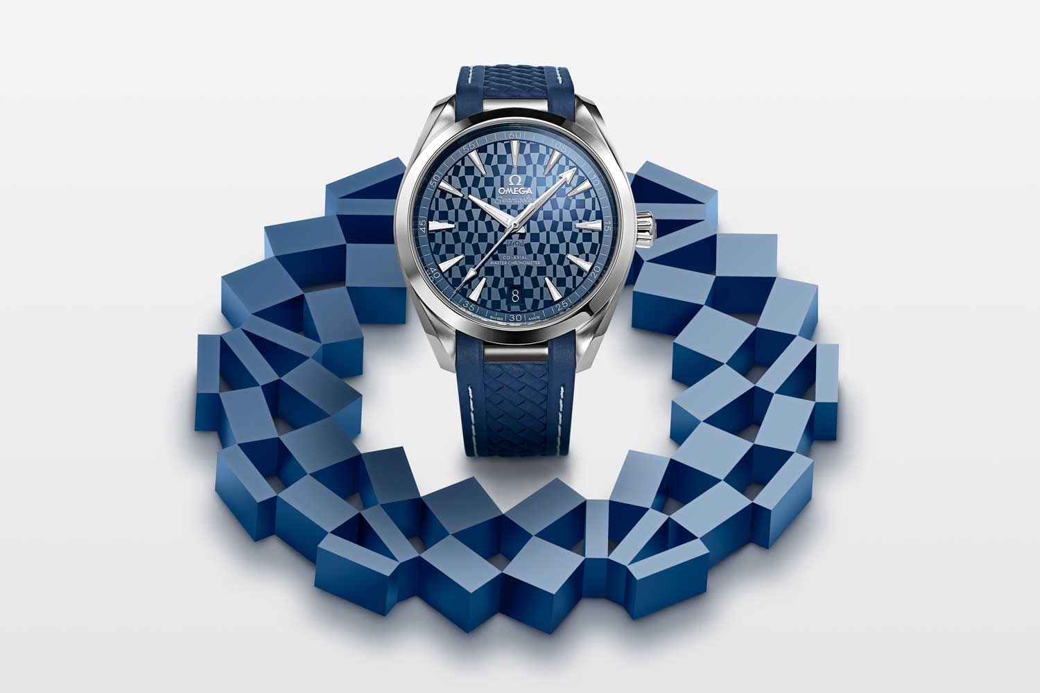 """The Seamaster Aqua Terra """"Tokyo 2020"""" has a polished blue ceramic dial distinguished by a laser-engraved Tokyo 2020 pattern"""
