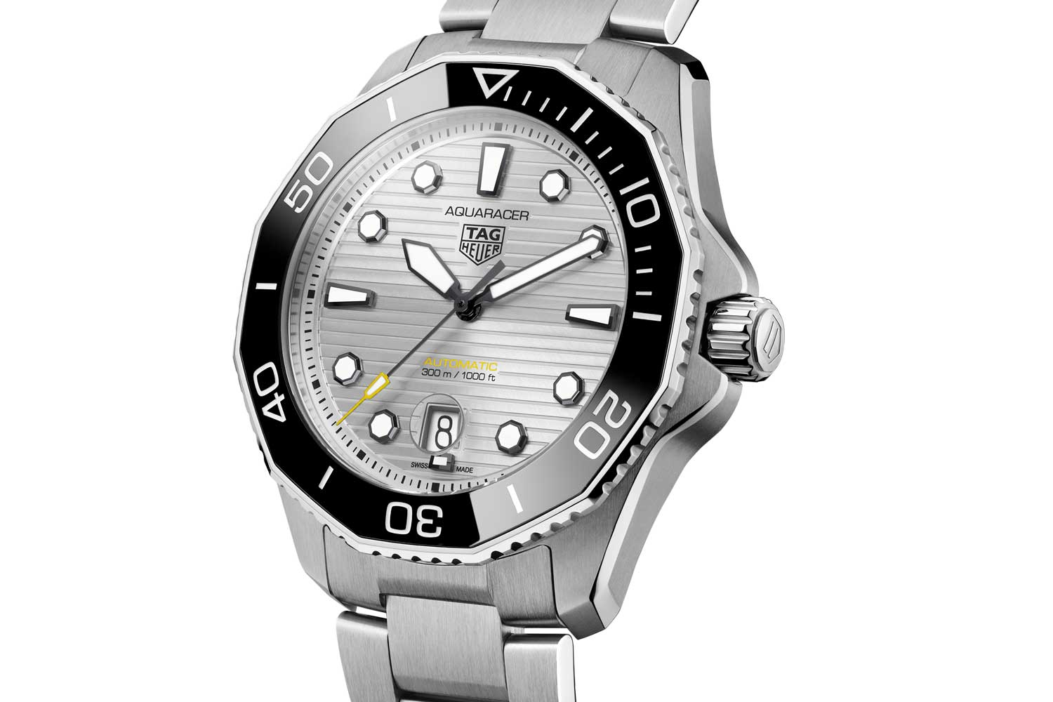 The Aquaracer with a silver dial has a glossy black ceramic bezel and matching hour marker for a high-contrast look.