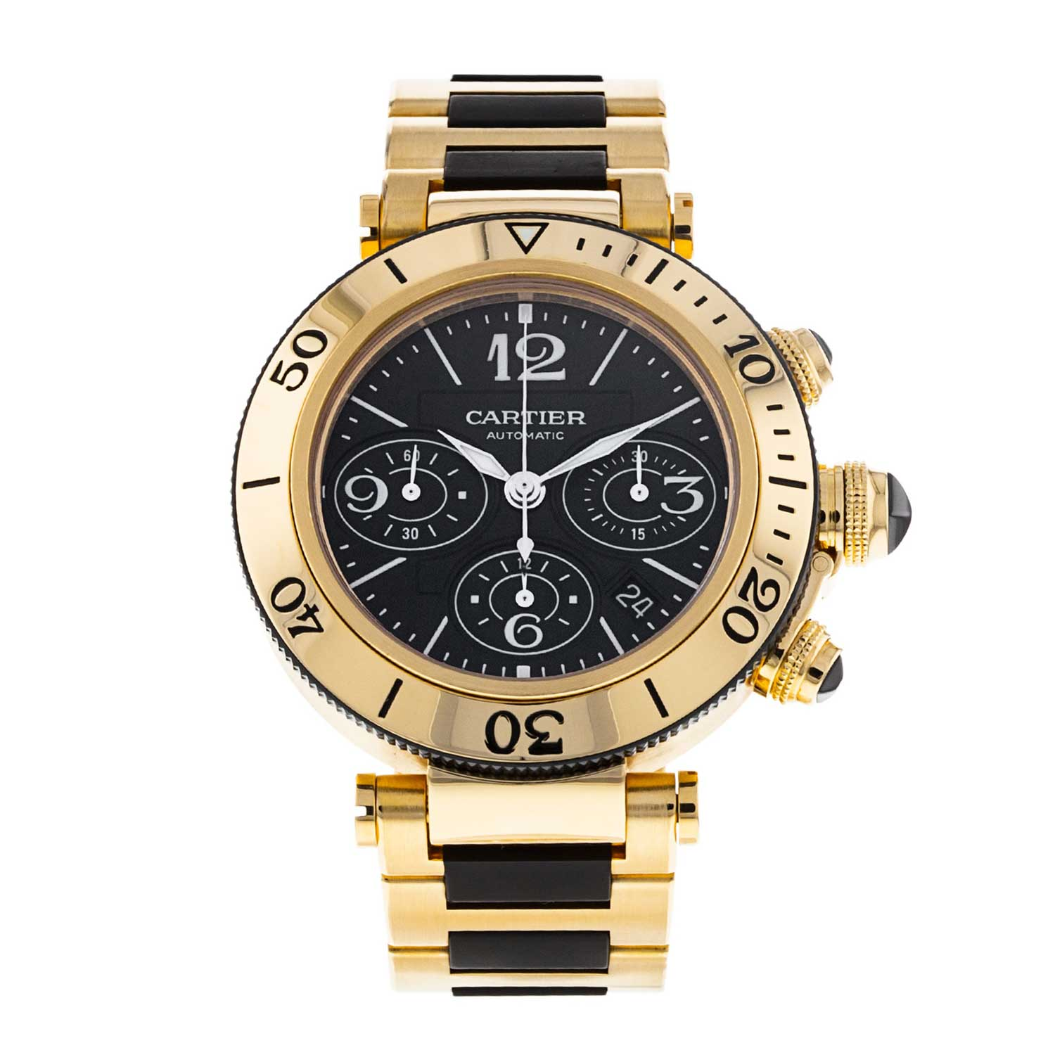 This Pasha Seatimer Chronograph from 2010 features a 42.5mm 18k yellow gold case surrounding a gorgeous black dial.