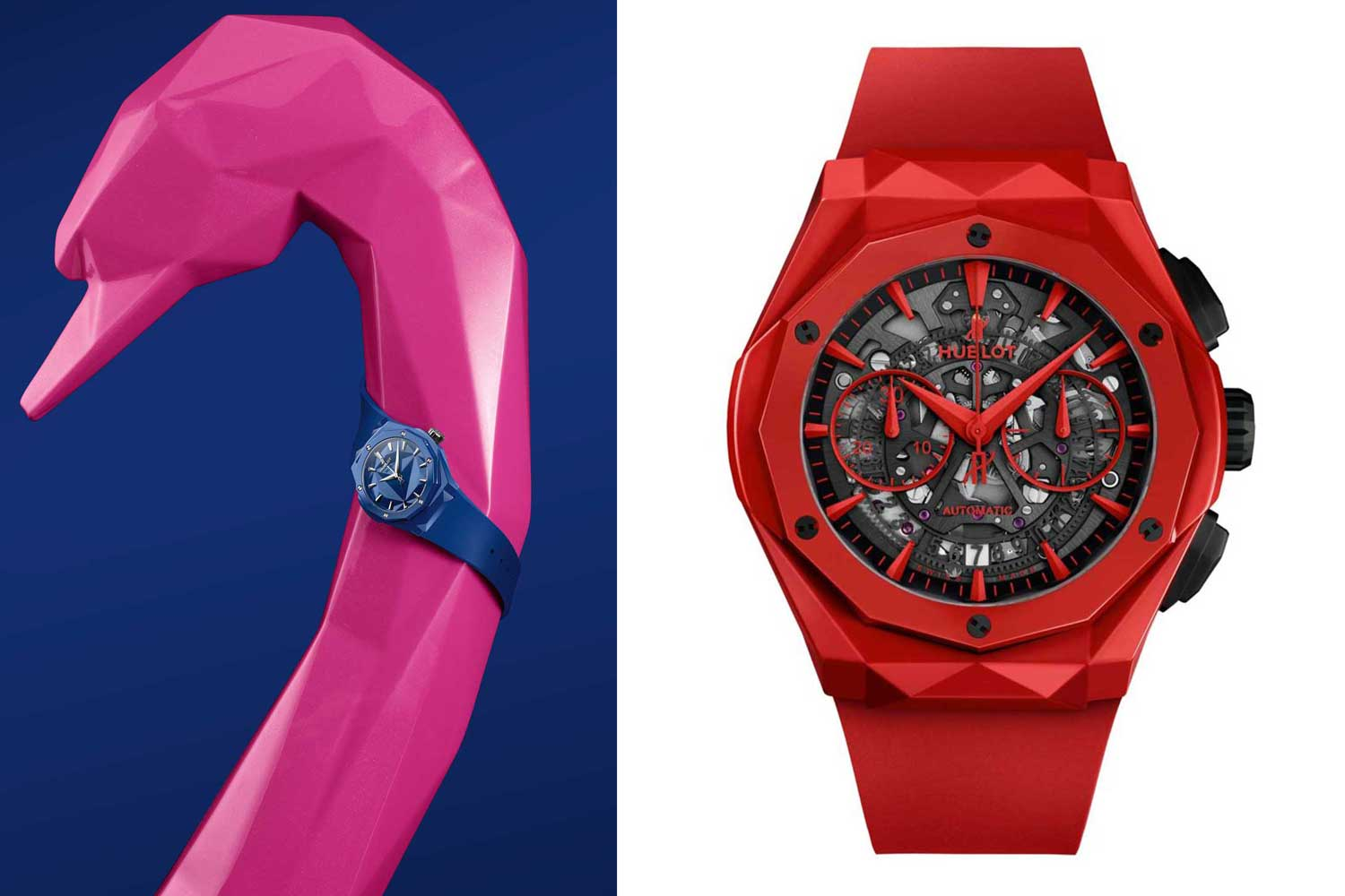 Sleek, glossy and reassuringly luxurious, Hublot's Orlinski watches are markedly different from the brand's other ceramic offerings. Seen here are the Hublot Classic Fusion 40mm Orlinski Edition in blue ceramic (left) and Hublot Classic Fusion Chronograph Orlinski Red Ceramic (right)