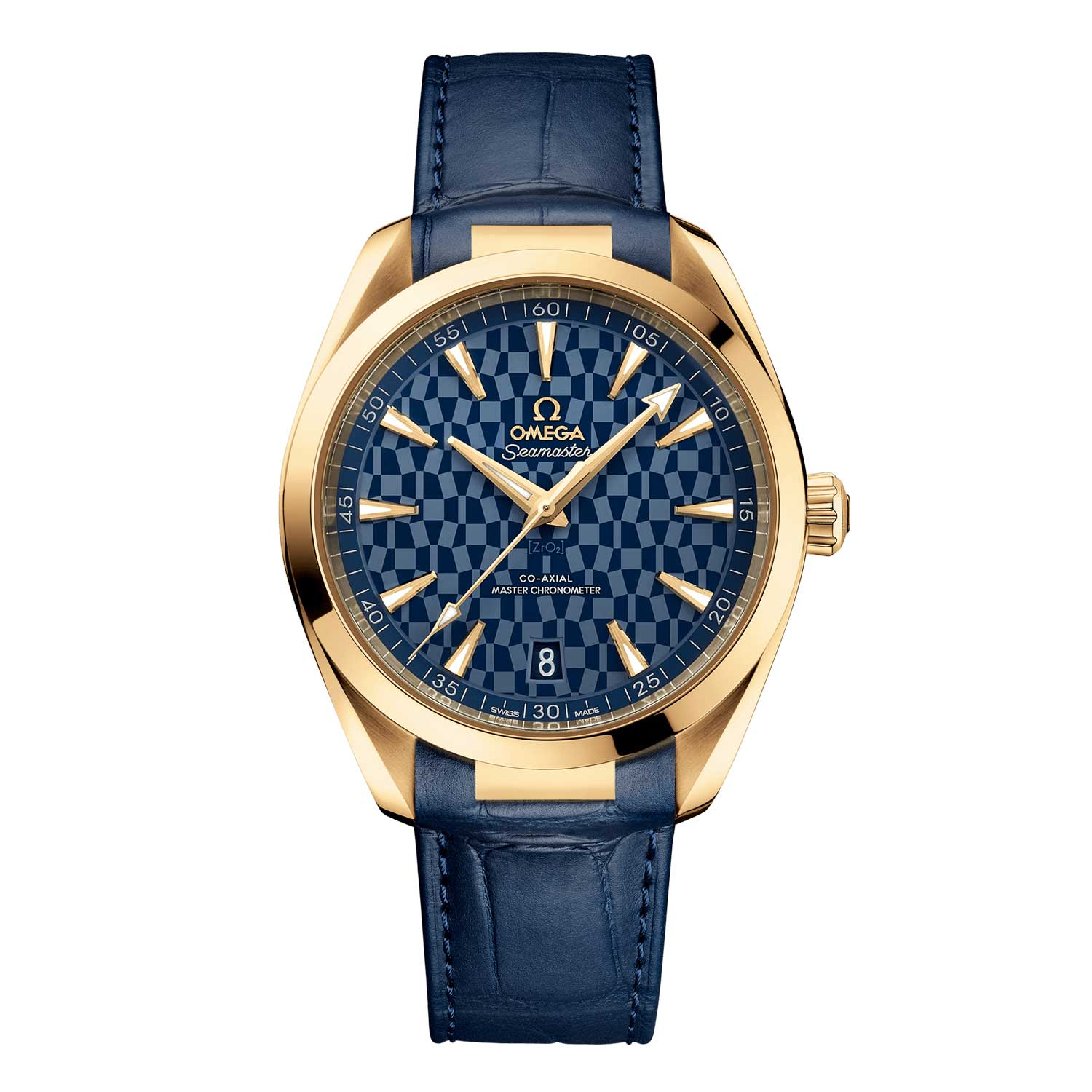 The Omega Seamaster Aqua Terra Tokyo 2020 Gold Watch features a polished blue ceramic dial, distinguished by a laser-engraved Tokyo 2020 pattern.