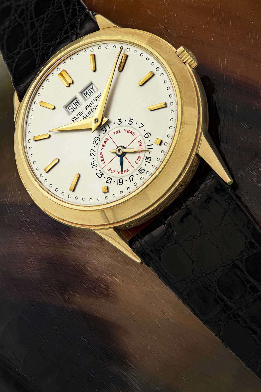 """Patek Philippe ref. 3448 """"Alan Banbery"""", which was specially modified in 1975 as a unique piece for presentation to Alan Banbery sold for USD 3.7 million at Christie's this year"""