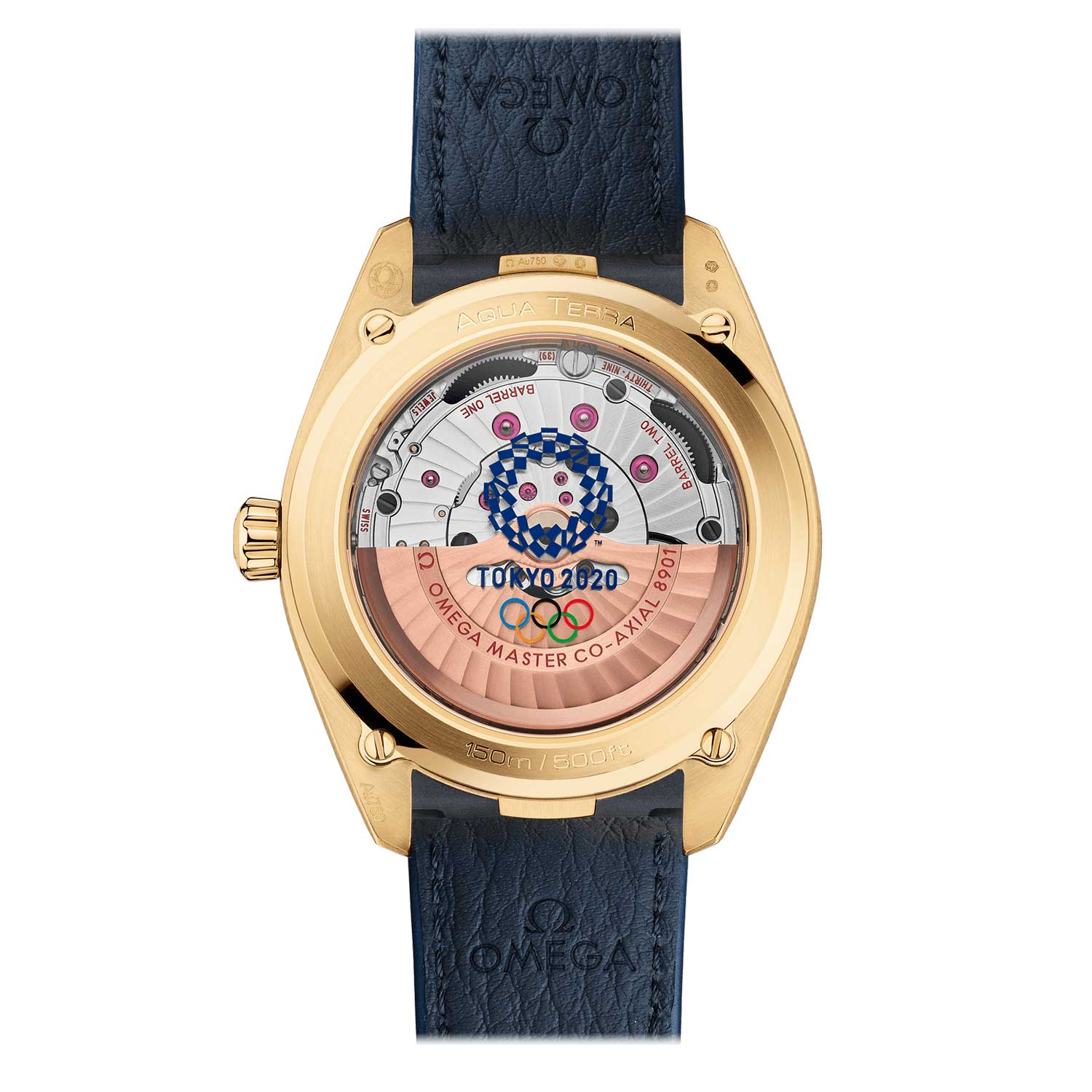 The caseback looks equally attractive with the exhibition sapphire crystals printed with the Tokyo 2020 logo, complete with a specially designed emblem made up of asymmetrical squares and rectangles.