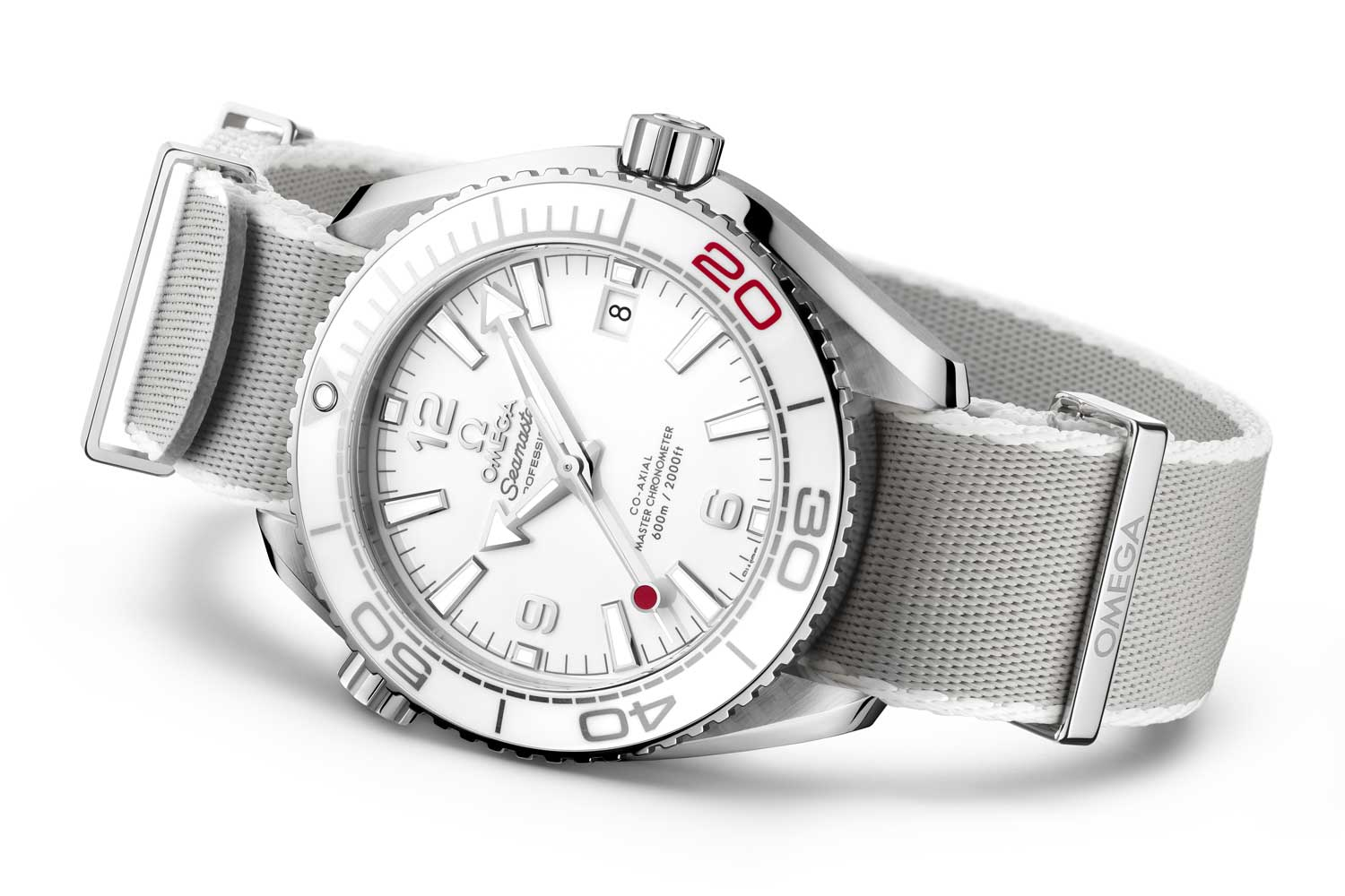 """Limited to 2,020 pieces, the Seamaster Diver """"Tokyo 2020"""" Edition features a polished white ceramic dial with a red-tipped central seconds hand to represent the flag of Japan."""