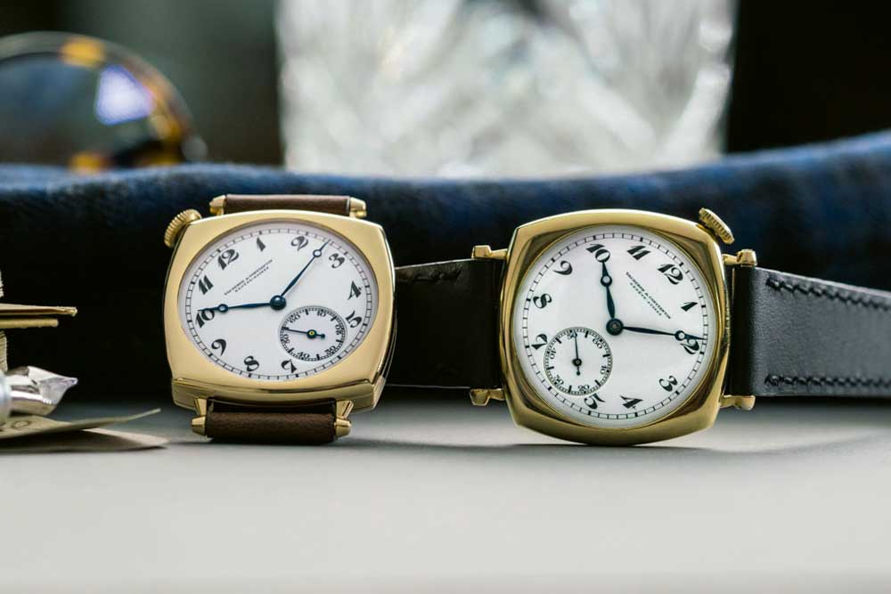 The Vacheron Constantin American 1921 Pièce Unique with a brown strap (left) and the original American 1921